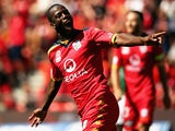 Bruce Djite of Adelaide United celebrates after scoring a goal during the round 16 A-League match between Adelaide United and Newcastle Jets at Coopers Stadium on January 24, 2015