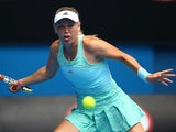 Caroline Wozniacki in action on day two of the Australian Open on January 20, 2015