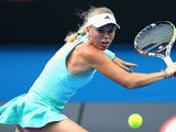Caroline Wozniacki in action on day four of the Australian Open on January 22, 2015