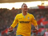 Marouane Chamakh of Crystal Palace celebrates as he scores their third goal during the FA Cup Fourth Round match between Southampton and Crystal Palace at St Mary's Stadium on January 24, 2015