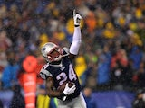 Darrelle Revis of the New England Patriots celebrates during Q3 of the AFC Championship game on January 18, 2015