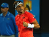 David Ferrer of Spain after taking the second set in his third round match against Gilles Simon of France during day six of the 2015 Australian Open on January 24, 2015
