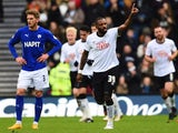 Darren Bent of Derby County celebrates his first half goal during the FA Cup Fourth Round match between Derby County and Chesterfield at iPro Stadium on January 24, 2015