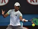 Donald Young in action on day four of the Australian Open on January 22, 2015