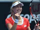 Ekaterina Makarova of Russia celebrates her victory over Julia Goerges of Germany in their women's singles match on day seven of the 2015 Australian Open tennis tournament in Melbourne on January 25, 2015