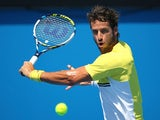 Feliciano Lopez in action on day four of the Australian Open on January 22, 2015