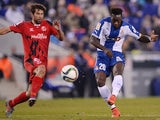 Espanyol's Ecuatorian forward Felipe Salvador Caicedo scores during the Spanish Copa del Rey (King's Cup) quarter final first leg football match against Sevilla on January 22, 2015
