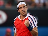 Luxembourg's Gilles Muller celebrates a point in his men's singles match against John Isner of the US on day six of the 2015 Australian Open tennis tournament in Melbourne on January 24, 2015