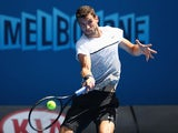 Grigor Dimitrov in action on day three of the Australian Open on January 21, 2015