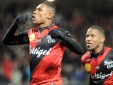 Guingamp's French forward Christophe Mandanne celebrates after scoring a goal during the French L1 football match Guingamp vs Lorient on January 24, 2015