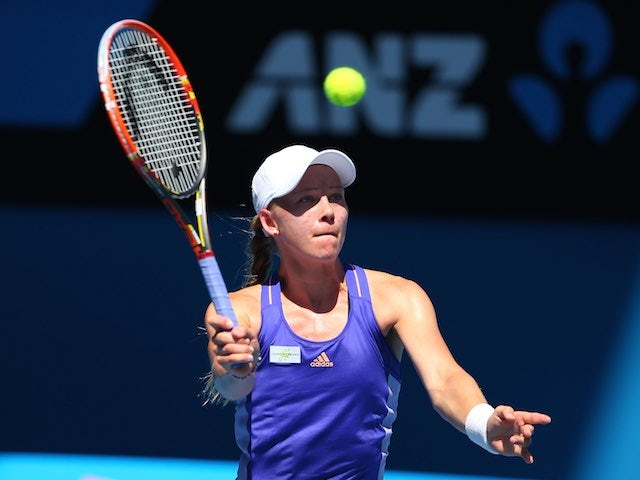 Johanna Larsson in action on day four of the Australian Open on January 22, 2015