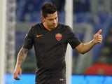 Juan Iturbe of AS Roma celebrates after scoring the opening goal during the TIM Cup match between AS Roma and Empoli FC at Olimpico Stadium on January 20, 2015