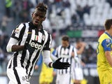 Juventus' French midfielder Labile Paul Pogba celebrates after scoring during the Italian Serie A football match Juventus Vs Chievo Verona on January 25, 2015