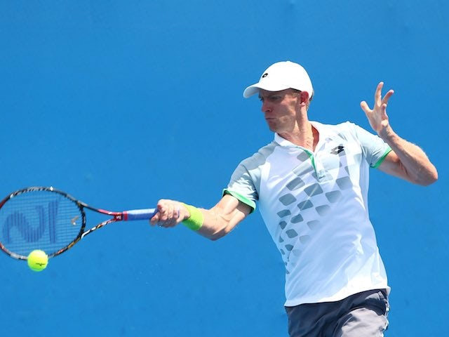 Kevin Anderson in action on day three of the Australian Open on January 21, 2015