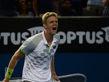 Kevin Anderson of South Africa reacts after beating Richard Gasquet of France in their men's singles match on day five of the 2015 Australian Open tennis tournament in Melbourne on January 23, 2015