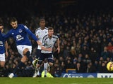 Everton's Belgian striker Kevin Mirallas fires his penalty kick against the post failing to score during the English Premier League football match against West Brom on January 19, 2015