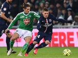 Paris Saint-Germain's Italian midfielder Marco Verratti (R) vies with Saint-Etienne's French midfielder Jeremy Clement during the French L1 football match on January 25, 2015