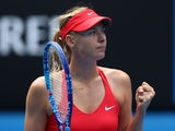 Maria Sharapova of Russia celebrates in her fourth round match against Shuai Peng of China during day seven of the 2015 Australian Open at Melbourne Park on January 25, 2015