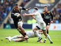 Nathan Hughes of Wasps takes possesion during the European Rugby Champions Cup game between Wasps and Leinster Rugby at The Ricoh Arena on January 24, 2015