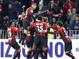 Nice's players celebrate after swedish midfielder Niklas Hult scored a goal during the French L1 football match between Niceand Marseille on Januay 23, 2015