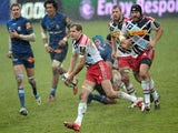 Harlequins fly half Nick Evans passes the ball during the European Champions Cup rugby union match, Castres vs Harlequins, at the Pierre Antoine Stadium in Castres, on January 24, 2015