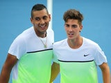 Nick Kyrgios and Thanasi Kokkinakis pose ahead of their doubles match at the Australian Open on January 22, 2015