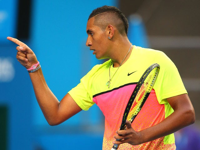 Nick Kyrgios of Australia celebrates a point in his fourth round match against Andreas Seppi of Italy during day seven of the 2015 Australian Open at Melbourne Park on January 25, 2015