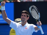 Novak Djokovic celebrates victory in his second-round match of the Australian Open on January 22, 2015