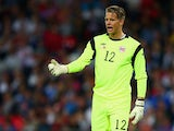 Orjan Nyland of Norway reacts during the International friendly match between England and Norway at Wembley Stadium on September 3, 2014