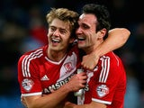 Goalscorers Patrick Bamford and Garcia Kike of Middlesbrough celebrate after the FA Cup Fourth Round match against Manchester City on January 24, 2015