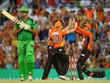 Andrew Tye of the Scorchers celebrates with team mates after taking the wicket of Clint McKay of the Melbourne Stars during the Big Bash League Semi Final match between the Perth Scorchers and the Melbourne Stars at WACA on January 25, 2015