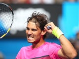Rafael Nadal of Spain celebrates winning his fourth round match against Kevin Anderson of South Africa during day seven of the 2015 Australian Open at Melbourne Park on January 25, 2015