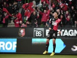 Rennes' French defender Benjamin Andre celebrates after scoring during the French L1 football match Rennes against Caen at the route de Lorient stadium in Rennes, western France, on January 25, 2015