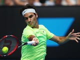 Roger Federer in action on day three of the Australian Open on January 21, 2015