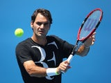 Roger Federer in a practice session at the Australian Open on January 22, 2015