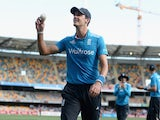 Steven Finn smiles to the crowd after taking five wickets during England's match with India on January 20, 2015