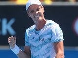 Tomas Berdych on day three of the Australian Open on January 21, 2015