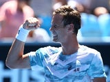 Tomas Berdych of the Czech Republic celebrates winning in his third round match against Viktor Troicki of Serbia during day five of the 2015 Australian Open at Melbourne Park on January 23, 2015