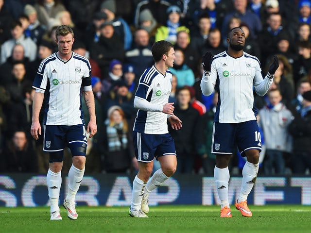 Victor Anichebe of West Brom celebrates scoring the opening goal during the FA Cup Fourth Round match between Birmingham City and West Bromwich Albion at St Andrews on January 24, 2015