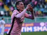 Andrea Belotti of Palermo celebrates after scoring his team's second goal during the Serie A match against Hellas Verona on February 1, 2015
