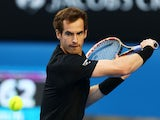 Andy Murray of Great Britain plays a backhand in his quarterfinal match against Nick Kyrgios of Australia during day nine of the 2015 Australian Open at Melbourne Park on January 27, 2015