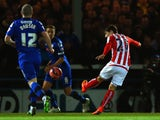 Bojan Krkic of Stoke City scores the opening goal during the FA Cup fourth round match between Rochdale and Stoke City at Spotland Stadium on January 26, 2015