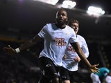 Darren Bent of Derby County celebrates scoring the opening goal during the Sky Bet Championship match against Blackburn Rovers on January 27, 2015