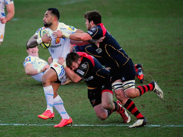 Chiefs wing Fetu'u Vainikolo bursts through the Dragons backs during the LV= Cup group match between Newport Gwent Dragons and Exeter Chiefs on February 1, 2015