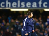 Frank Lampard of Manchester City warms up ahead of the Barclays Premier League match between Chelsea and Manchester City at Stamford Bridge on January 31, 2015