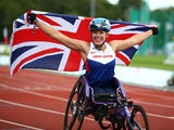 Hannah Cockroft of Great Britain celebrates after winning the womens 800m T34 final during day four of the IPC Athletics European Championships at Swansea University Sports Village on August 22, 2014