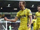 Tottenham Hotspur's English striker Harry Kane celebrates scoring from the penalty spot for their third goal during the English Premier League football match against West Bromwich Albion on January 31, 2015