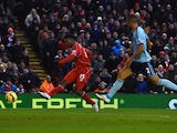 Daniel Sturridge of Liverpool scores his goal during the Barclays Premier League match between Liverpool and West Ham United at Anfield on January 31, 2015