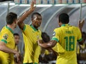 South Africa's midfielder Mandla Masango (C) celebrates with teammates after scoring a goal during the 2015 African Cup of Nations group C football match against Ghana on January 27, 2015