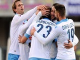Manolo Gabbiadiani # 23 of SSC Napoli celebrates with his team mates after scoring the opening goal during the Serie A match on February 1, 2015